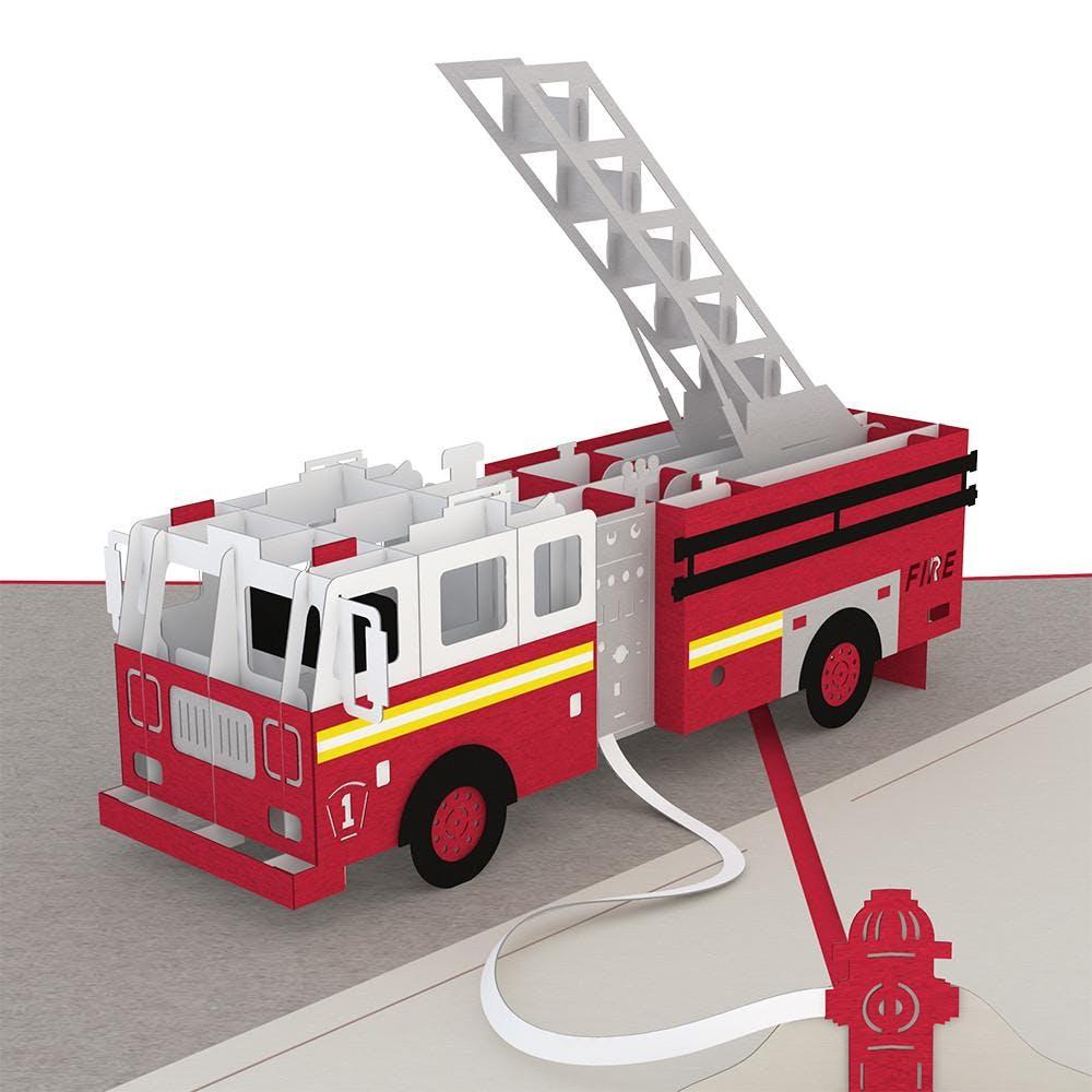 Feuerwehrauto, Pop-Up Karte