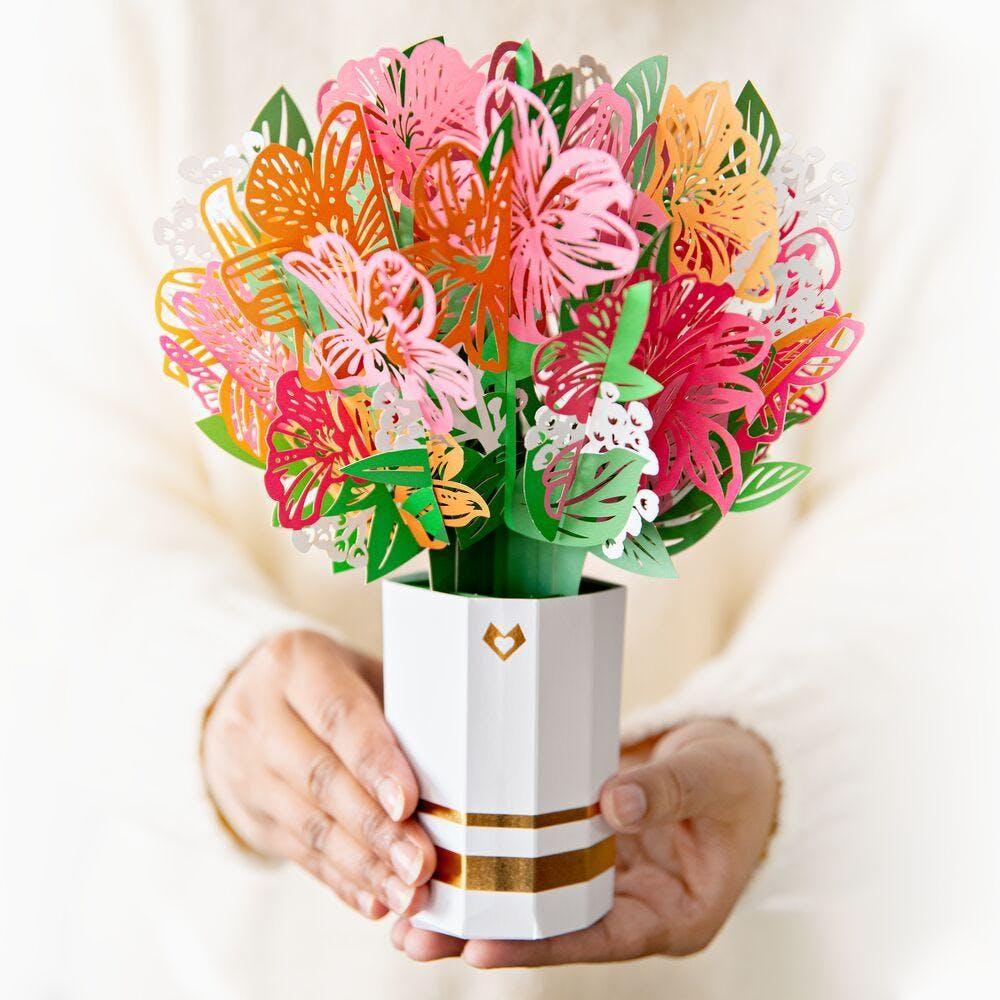 Rosa Lilienstrauß, Pop-Up Blumen