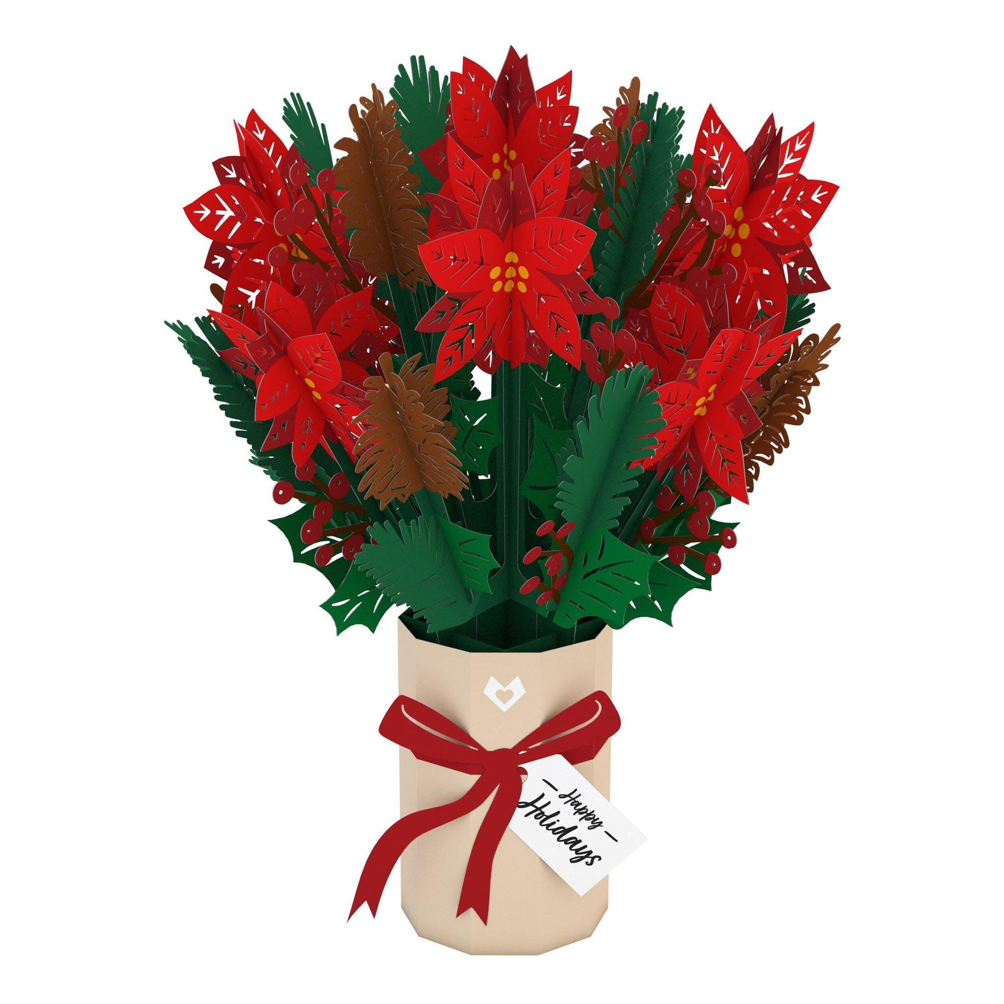 Strauß mit Weihnachtssternen, Pop-Up Blumen