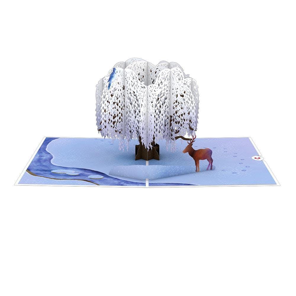 Winter-Weidenbaum, Pop-Up Karte