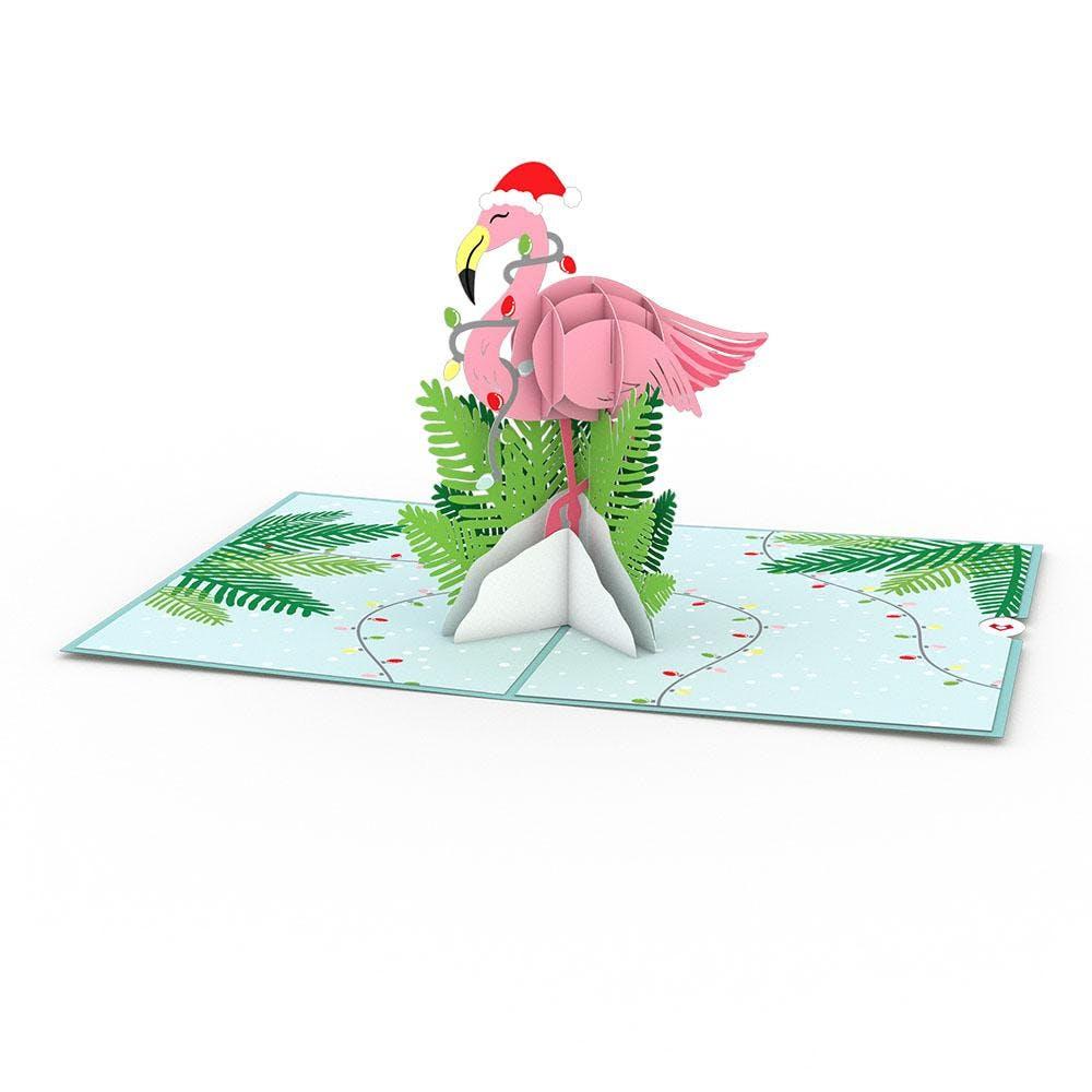 Weihnachtsflamingo, Pop-Up Karte