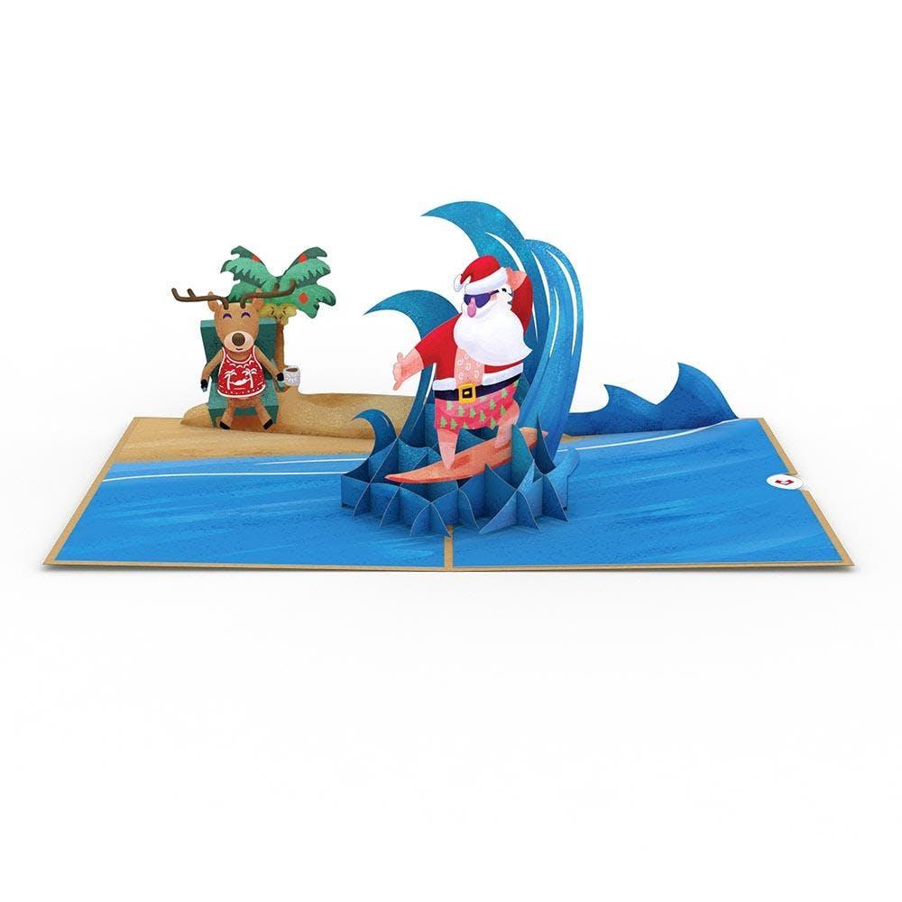 Surfer-Nikolaus, Pop-Up Karte