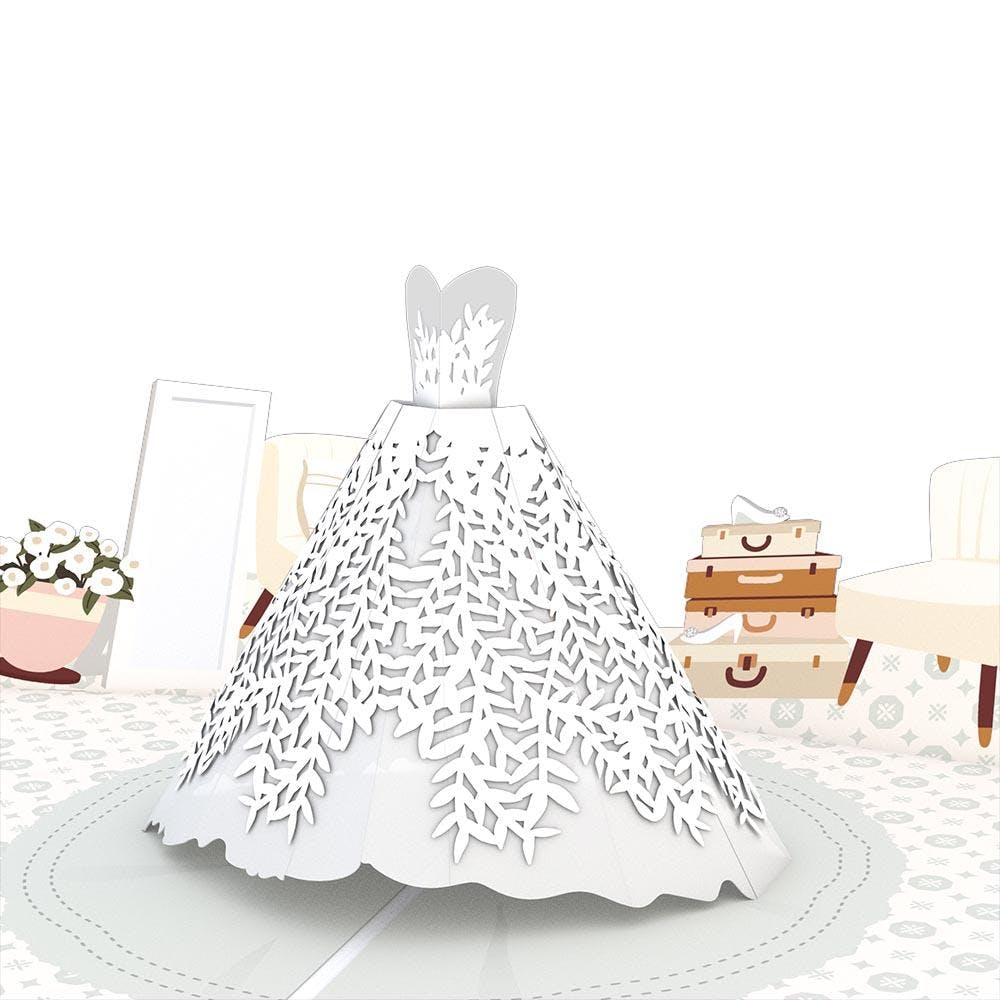 Hochzeitskleid, Pop-Up Karte