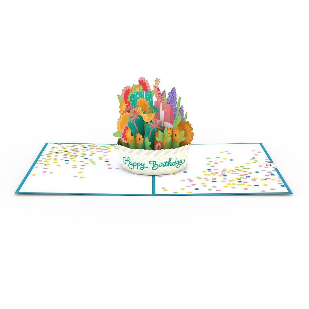 Happy-Birthday-Korb,  Pop-Up Karte