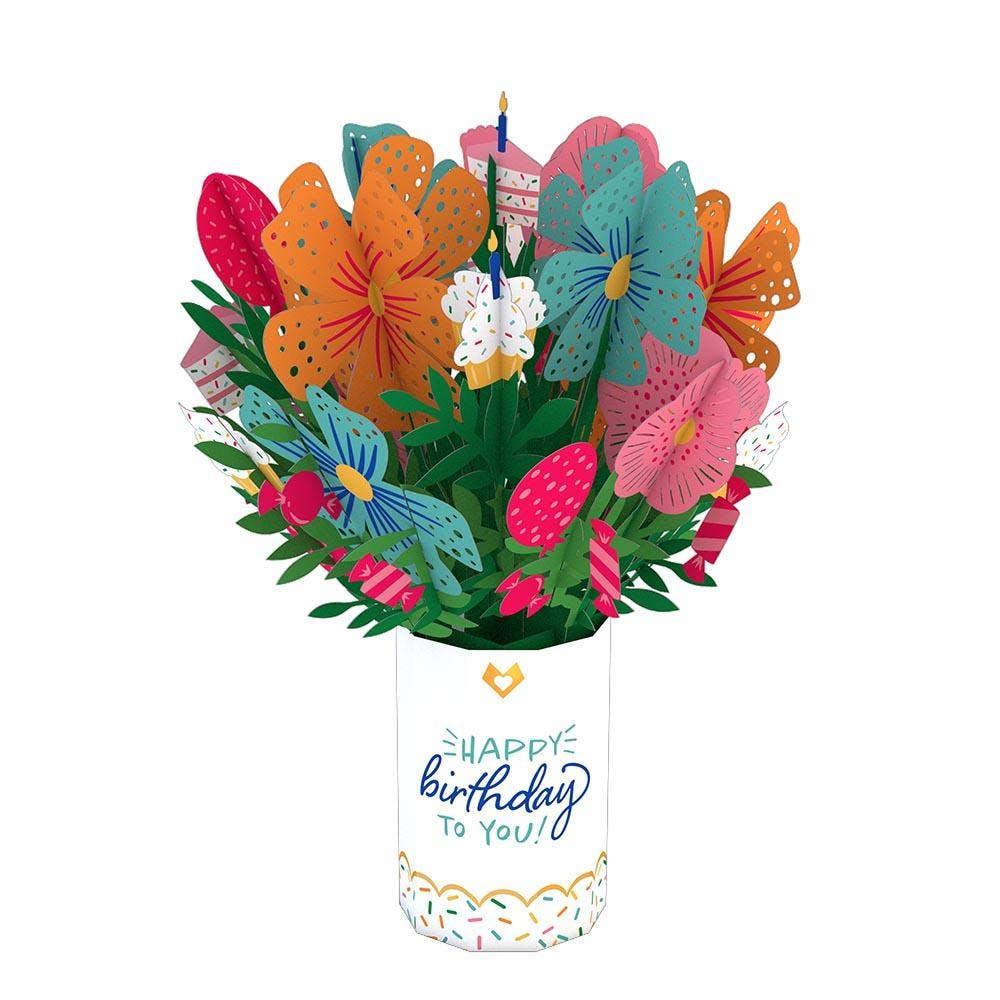 Geburtstagsblumenstrauß, Pop-Up Blumen